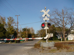 """Some grade crossings, located in """"quiet zones""""  are now equipped with signal site train whistles that are quieter and only heard by mototists at the grade crossing."""