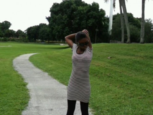 Andrea Small does warm up before exercising. (Location: Barwick Park - FL)