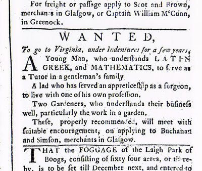 Advertisement for indentured servants to travel to Virginia.  Would you apply for this job?