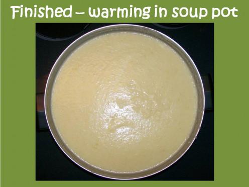 Finished Cauliflower Soup warming on low heat.  Add salt and pepper to taste.  Source:  Sharyn's Slant