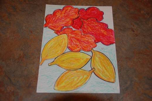 Leaf line/shape project done with oil pastels - the students love using pastels - grades 3, 4 and 5
