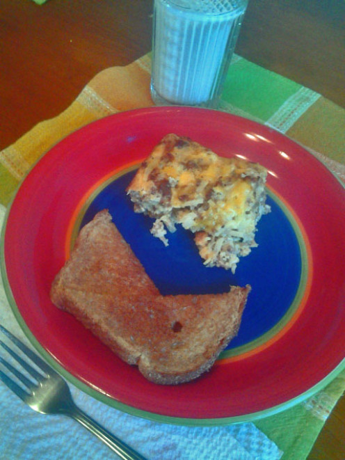 Breakfast bake with toast and milk