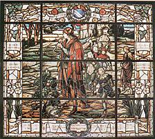 One of the stained glass windows in the Baylor Armstrong Browning Library