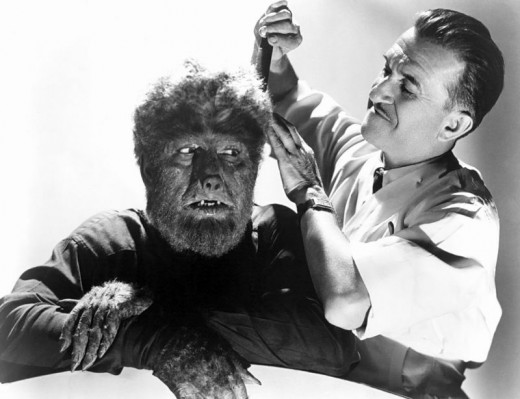 The Wolf Man gets a trim from make up man Jack Pierce