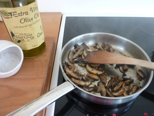 Sweat the mushrooms gently in a little olive oil until cooked ...