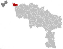 Map location of Mouscron / Moeskroen, Hainaut / Henegouwen, Belgium