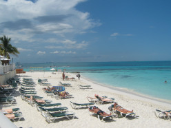 Private beach, waves gently lap the shore - Riu Palace Las Americas, Cancun, Mexico
