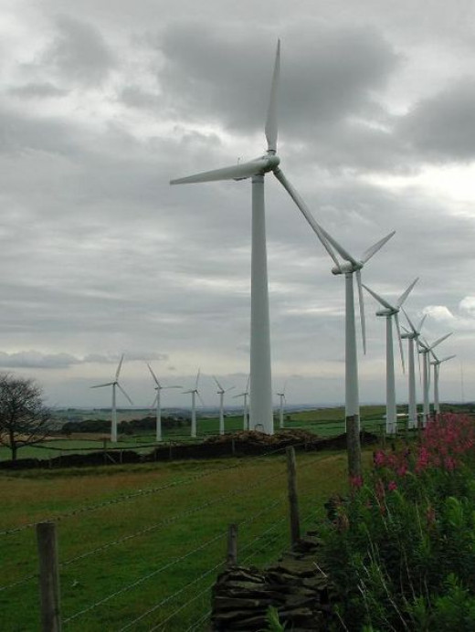 Wind farms have lots of windmills
