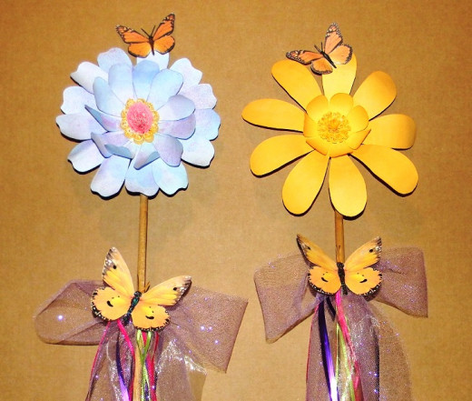 """These 36"""" floral stakes were made for the Jerusalem Butterfly Festival 2012 - even though it rained!"""