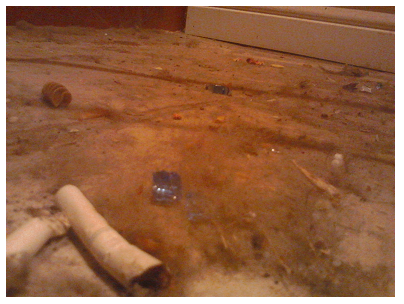 A broken cigarette, glass, an old noodle and other things covered with dust.