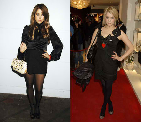 Peaches Geldof wearing black stockings at two different events.