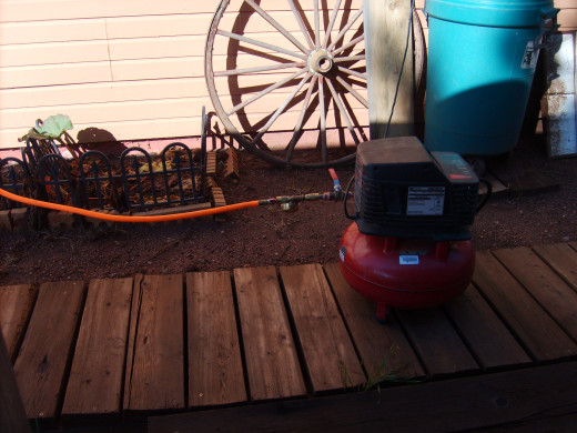 The compressor is hooked up to an outside outlet.