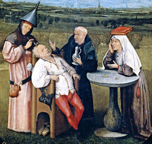 """The Extraction of the Stone of Madness""  Hieronymus Bosch ,circa 1450"