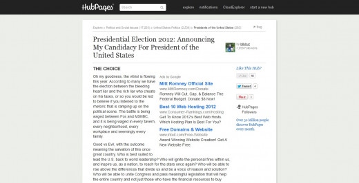 Presidential Election 2012:  Announcing My Candidacy For President of the United States