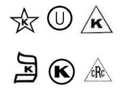 """If you see one of these symbols on a label it means """"the food has been inspected by one of the many kosher certifying agencies in the US."""
