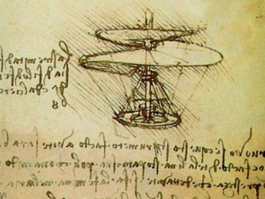One of Leonardo Da Vinci's helicopter sketches.