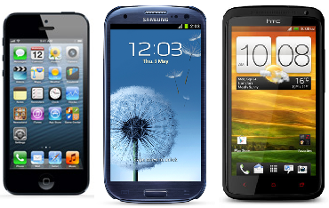 iPhone 5, Samsung Galaxy S3, HTC One X