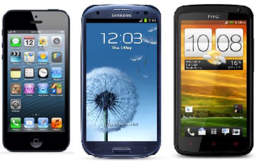 iPhone 5, Samsung Galaxy S3, HTC One X