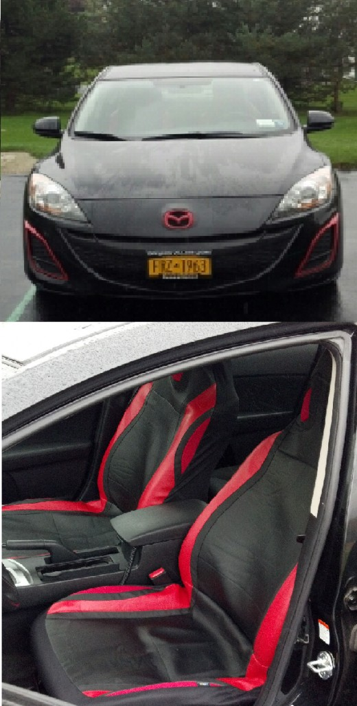 Just thought I'd put these pictures on too, since I wrote this hub I went through the same painting process on the mazda emblem to make it the same color red (again with the krylon fusion paint)... and added seat covers (I know, that's unrelated....)