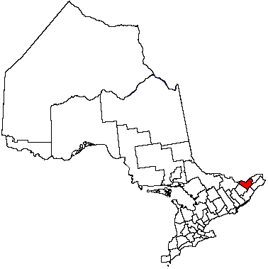Map location of Ottawa, Ontario