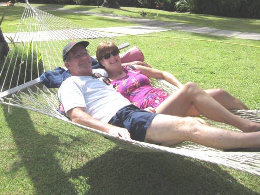 It's not easy getting two people in a hammock - but worth the extra effort!