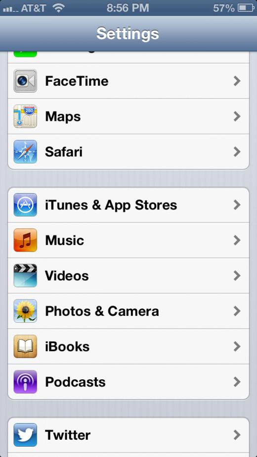"""Tap """"iTunes & App Stores."""""""