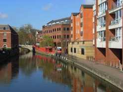 The Kennet River, Reading, looking ahead to the bridge on Duke Street