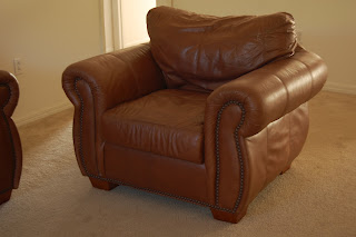 High demand items like leather couches are a hot commodity and won't last long, especially at a low price. Chair and matching couch $150.  Brand new $1000+