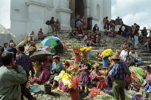 This market on the steps of Santo Tomás Church in Chichicastenango, Guatemala was photographed by Gabridelca in the summer of 1997.