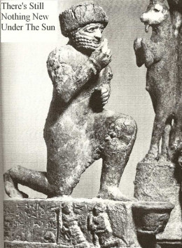 Ancient man feeding ancient animal