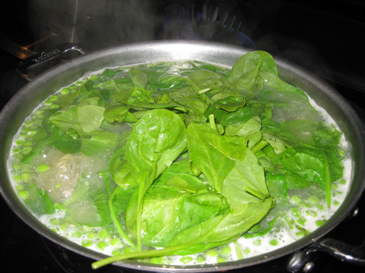 pic of soup with spinach