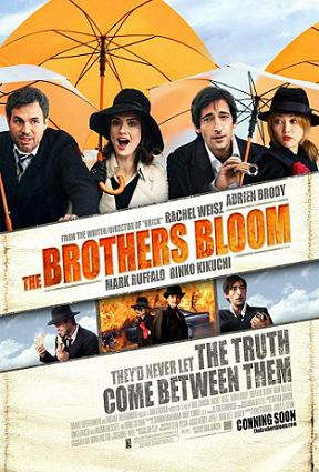 Poster for The Brothers Bloom, featuring Mark Ruffalo as Stephen, Rachel Weisz as Penelope, Adrien Brody as Bloom, and Rinko Kikuchi as Bang Bang.