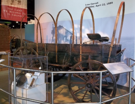 An actual wagon that ran in a 'Land Run' for property in Oklahoma.  Displayed in the Oklahoma Historical Museum.