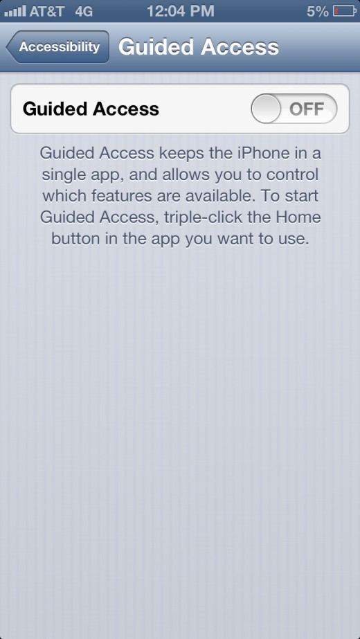 "Toggle Guided Access to ""ON."""