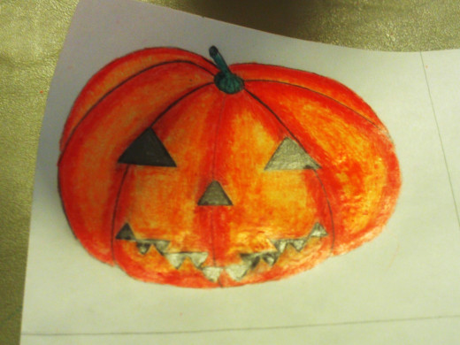 I have finished coloring in the stem on the pumpkin