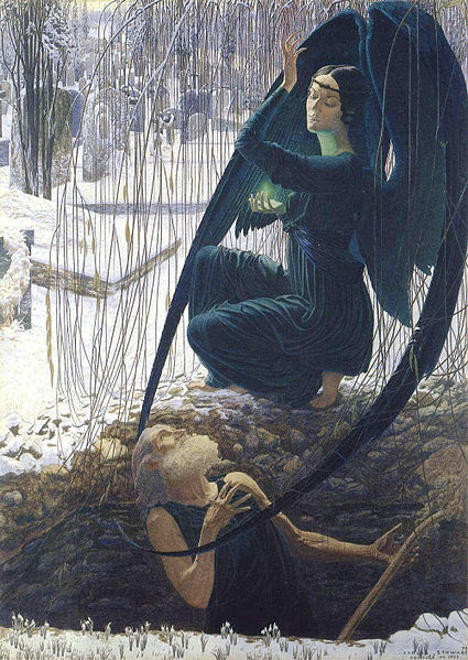 "Detail from ""Death and the gravedigger"", by Carlos Schwabe (1866-1926)"