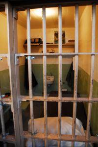 A cell in Alcatraz prison.