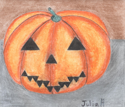 My jack-o'-lantern drawing feels quite festive with Halloween in our midst.