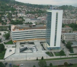 The Parliament building today, rebuilt after the war and now used as the Building of the Government of Bosnia.