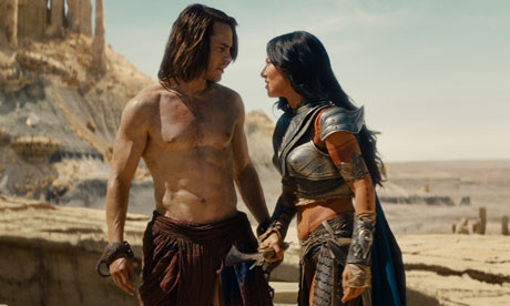 Screen shot of John Carter and Princess Dejah in  John Carter