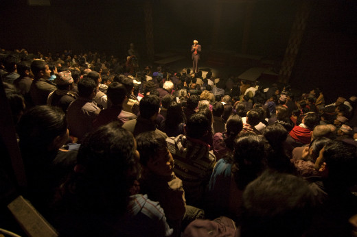 Theater  critic/scholar/writer Prof. Abhi Subedi interacting with the audience