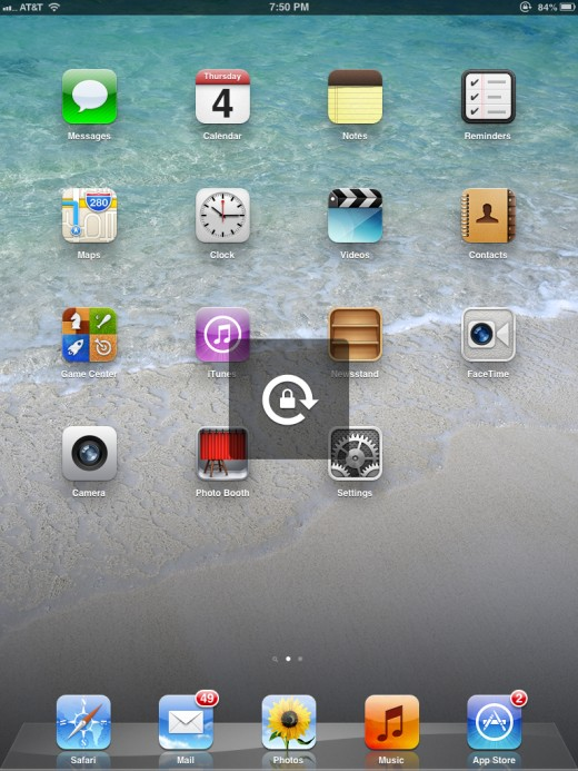 The Rotation Lock icon appears on the screen and also appears to the left of the battery icon in the upper right corner of the screen.