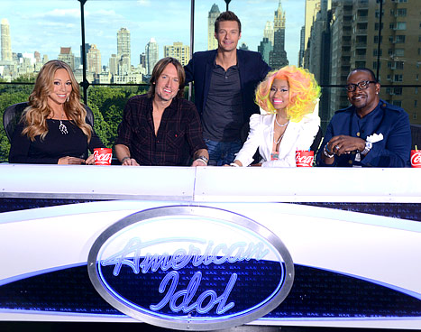Mariah Carey, Keith Urban, Nicki Minaj and Randy Jackson, with AI host Ryan Seacrest - American Idol Judges 2013, by Rosie2010, photo source AmericanIdol.net