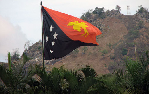 Papua New Guinea, flag flying high