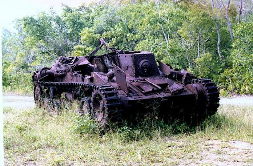 Japanese Ha Go tank wreck on Peleliu Island