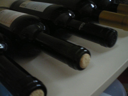 Wine bottles with cork stoppers
