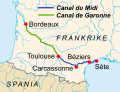 Map of the Canal du Midi and the Canal de Garonne, France.
