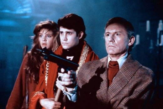 Traci Lind, William Ragsdale and Roddy McDowall in Fright Night 2 (1988)