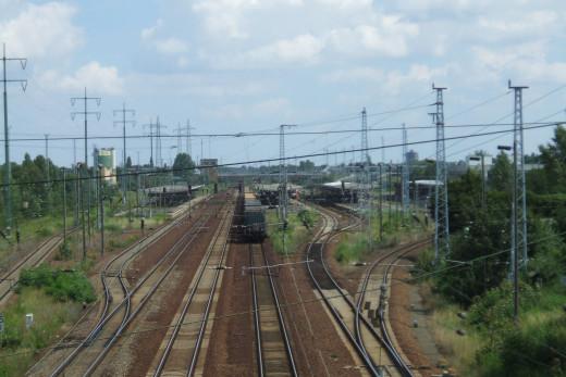 Rails at Berlin-Schoenefeld Station from the western footbridge