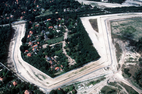 An aerial view of a segment of the Berlin Wall, 1989
